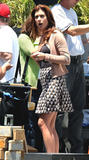 Kate Walsh shows ass on windy day in short skirt on the set of Private Practice