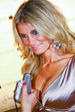 Marisa Miller shows cleavage in silver low-cut dress at Tribe Hyperclub in Montreal