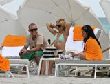 Mena Suvari showing her ass in thong bikini at beach in Miami Beach